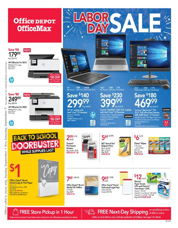 Office Depot and OfficeMax Weekly September 1 - 7, 2019 Page 1