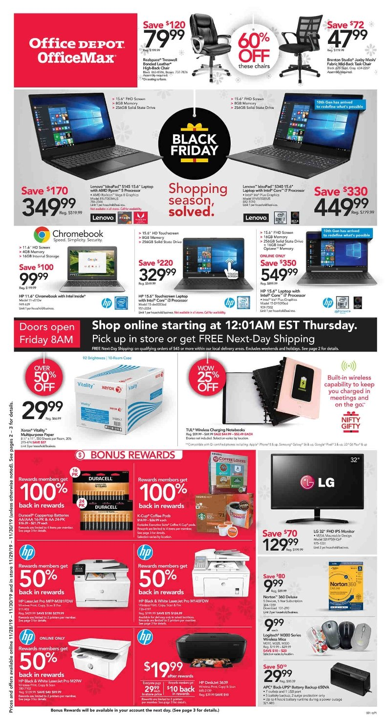 Office Depot and OfficeMax Black Friday 2019 Page 1