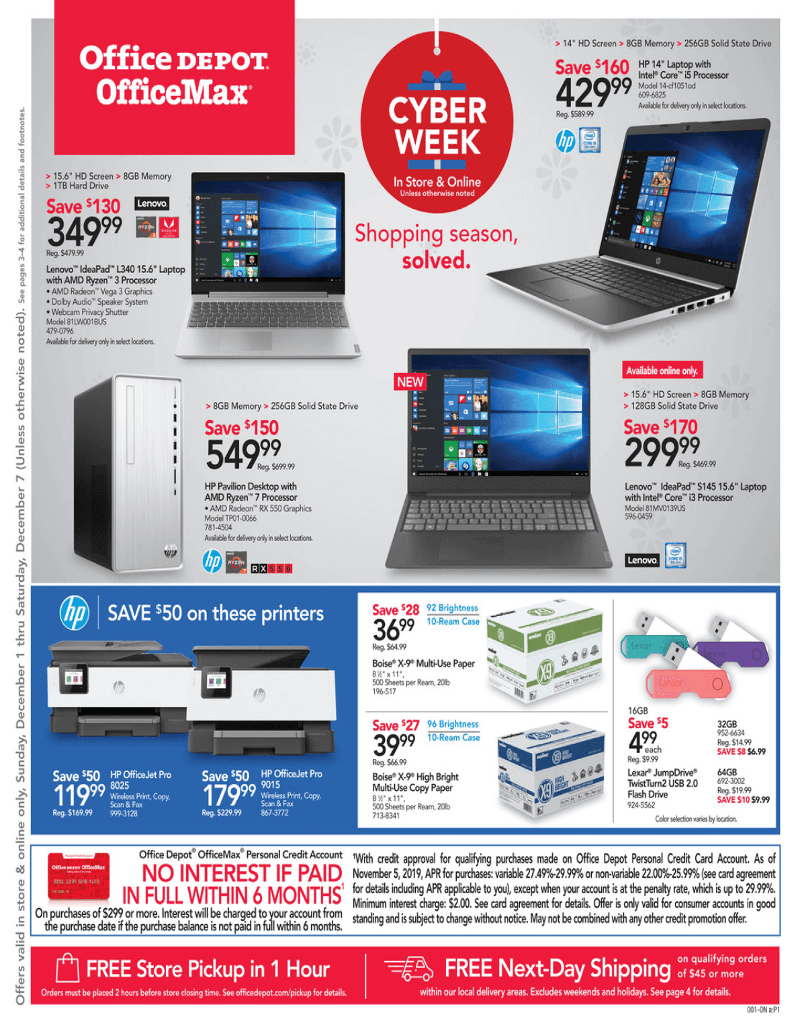 Office Depot and OfficeMax Cyber Monday 2019 Page 1