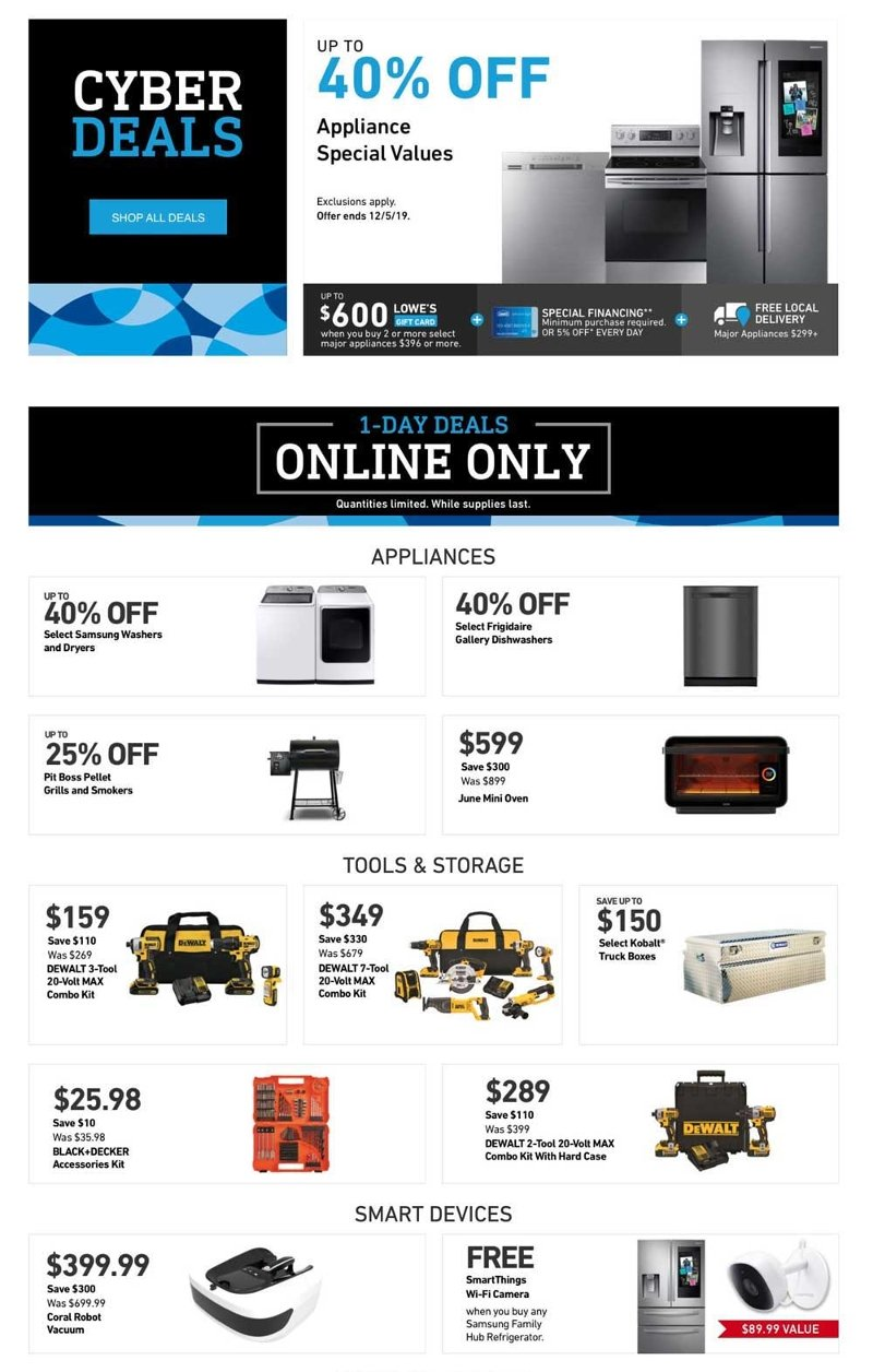 Lowe's Cyber Monday 2019 Page 1
