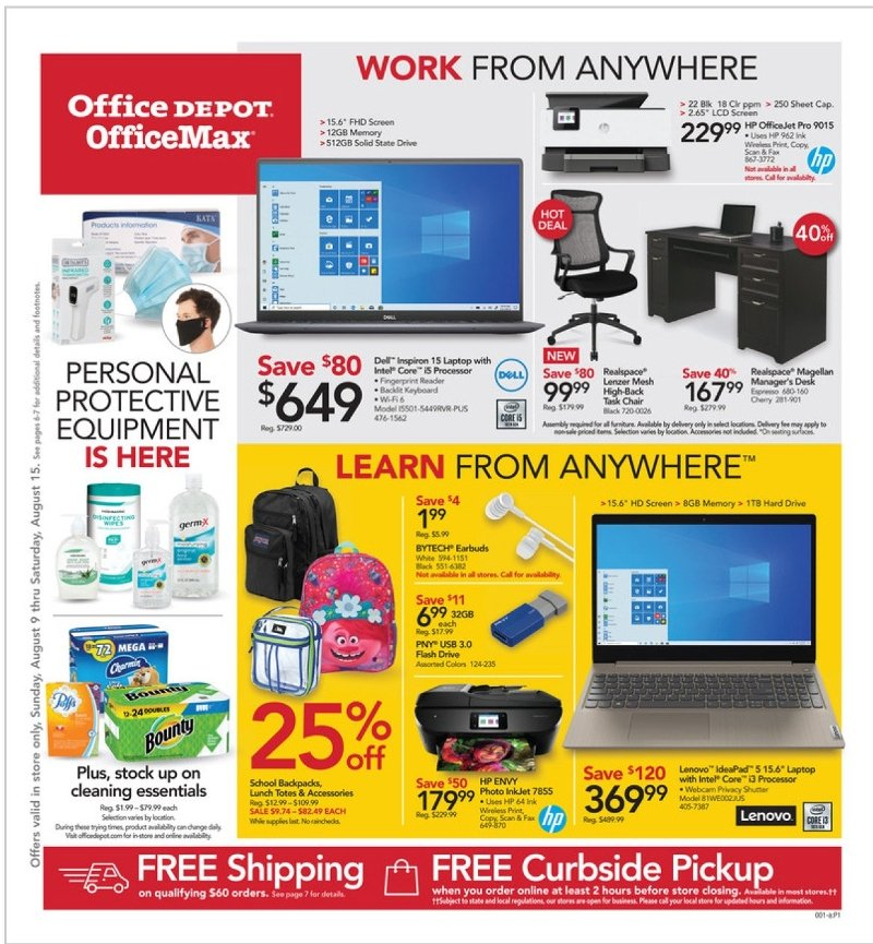 Office Depot and OfficeMax Weekly August 9 - 15, 2020 Page 1
