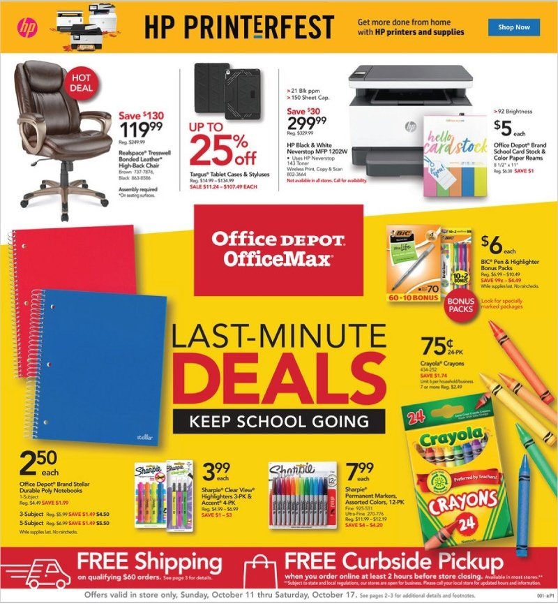 Office Depot and OfficeMax Weekly October 11 - 17, 2020 Page 1