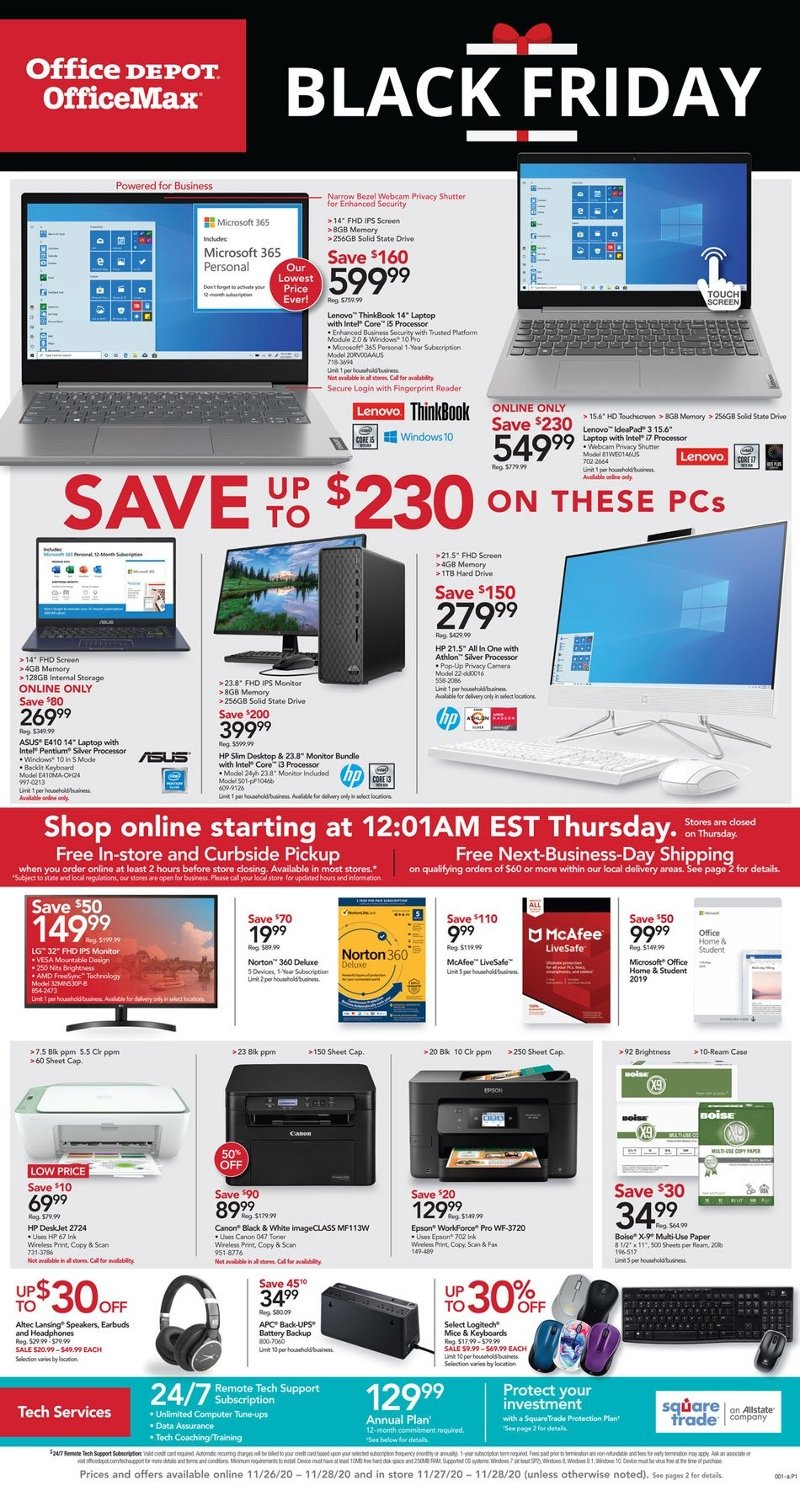 Office Depot & OfficeMax Black Friday 2020 Page 1