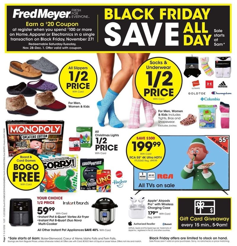 Fred Meyer Black Friday 2020 Page 1