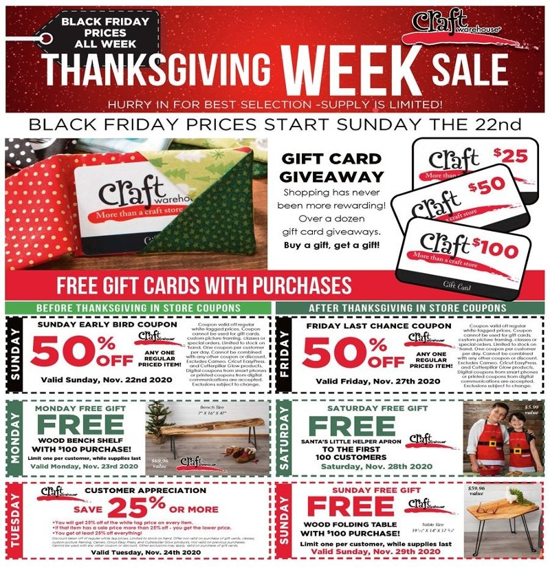 Craft Warehouse Black Friday 2020 Page 1