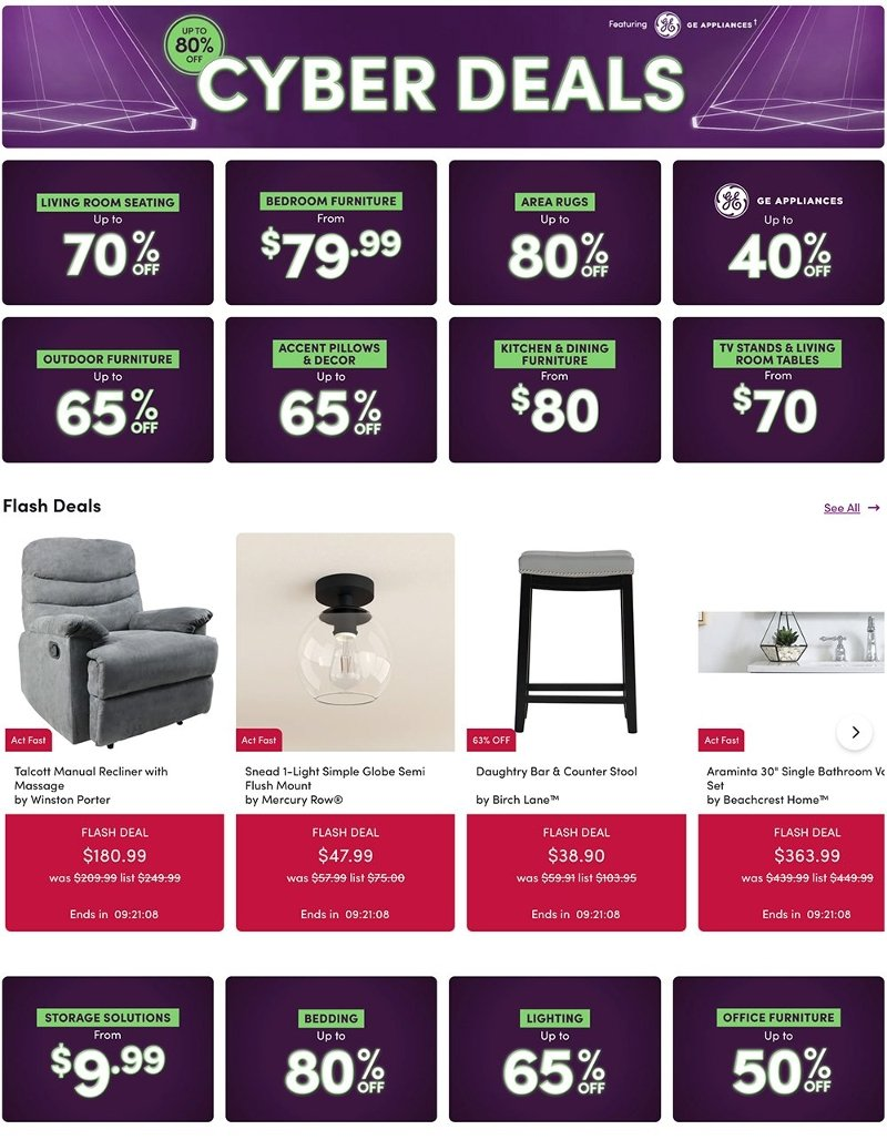 Wayfair Cyber Monday 2020 Page 1