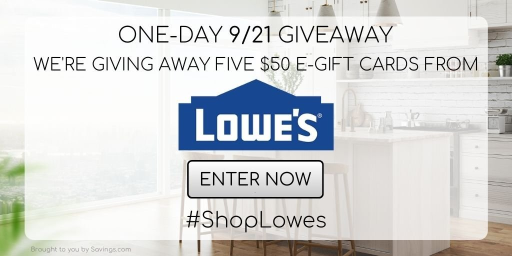 Win a $50 e-gift card from Lowe's.